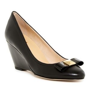 Kate Spade Cayley wedge pump black bow sz 7
